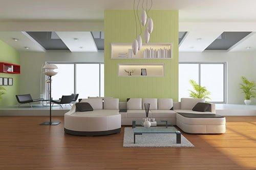 Phòng khách ấn tượng với trần thạch cao giật cấp cắt khối chữ nhật