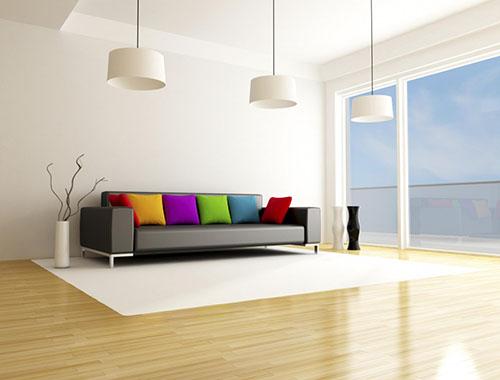 Nội thất phòng đẹp với trang trí trần thạch cao phẳng ở phòng khách