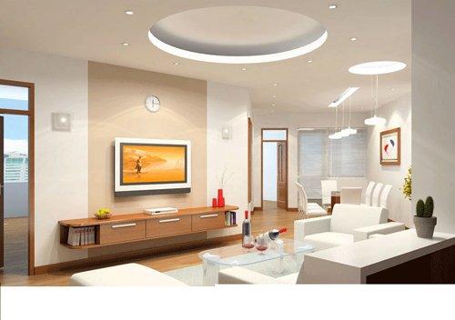 Trần thạch cao phòng khách giật cấp tròn máng hắt chiếu sáng và đèn downligh