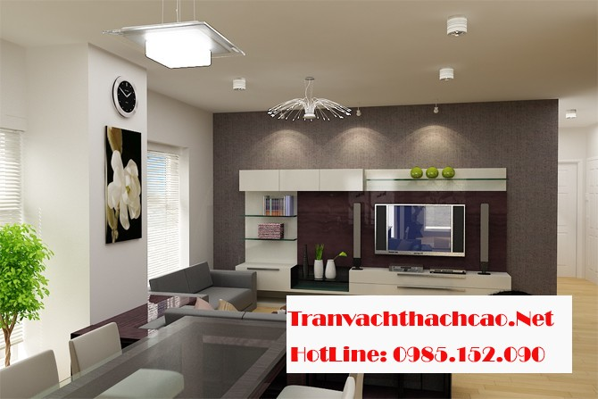 Vách thạch cao giúp tối ưu không gian phòng khách cho nhà chung cư